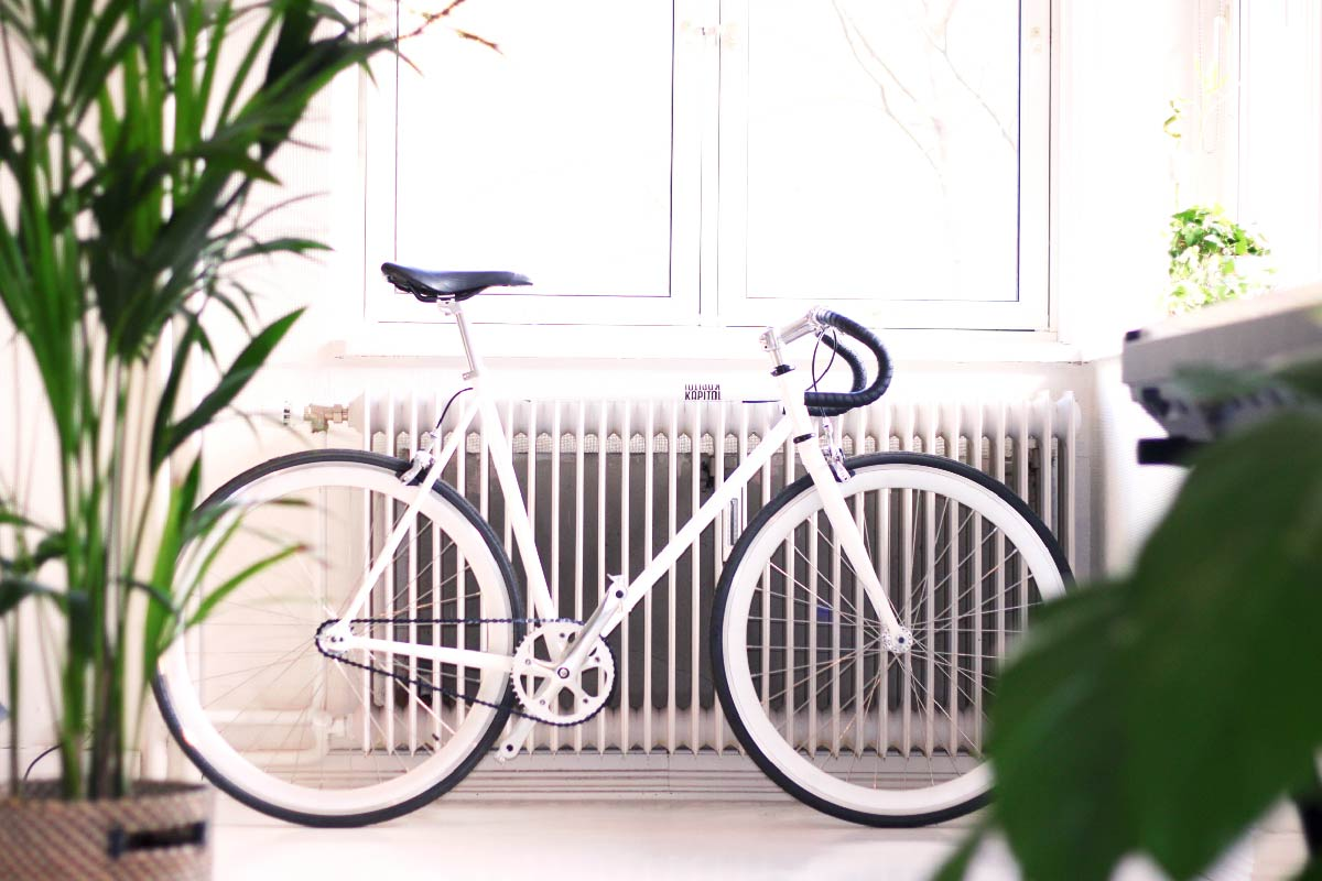 bicycle in front of radiator