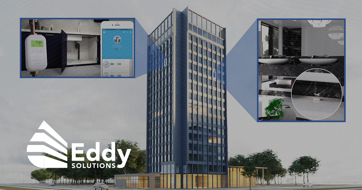eddy solutions logo overlaid on photo of high rise building